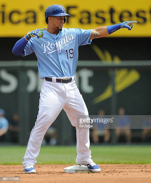 Cheslor Cuthbert of the Kansas City Royals celebrates a double in the in the first inning against the Toronto Blue Jays at Kauffman Stadium on August...