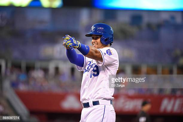 Cheslor Cuthbert of the Kansas City Royals celebrates a single against the Minnesota Twins at Kauffman Stadium on August 18 2016 in Kansas City...