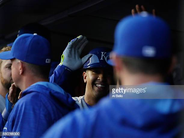 Cheslor Cuthbert of the Kansas City Royals celebrates a two run home run against the New York Yankees in the second inning during their game at...