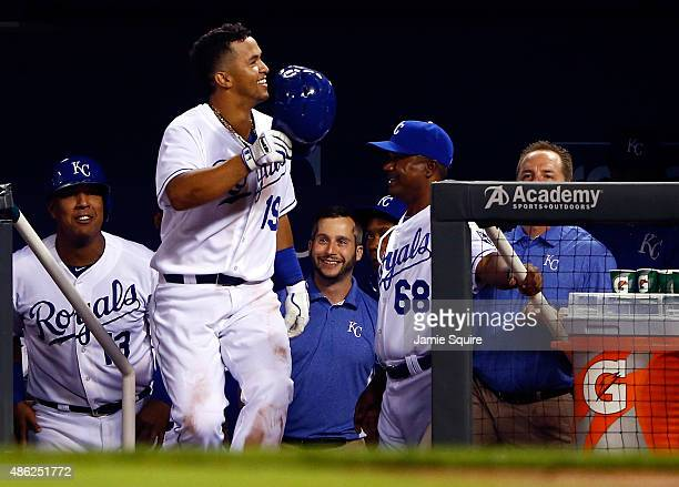 Cheslor Cuthbert of the Kansas City Royals celebrates after hitting a home run during the 5th inning of the game against the Detroit Tigers at...