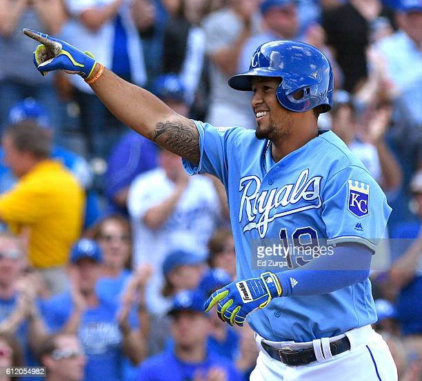 Cheslor Cuthbert of the Kansas City Royals celebrates his home run in the fifth inning against the Cleveland Indians at Kauffman Stadium on October 2...