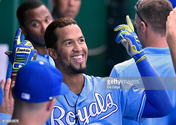 Cheslor Cuthbert of the Kansas City Royals celebrates his home run with teammates in the fifth inning against the Cleveland Indians at Kauffman...