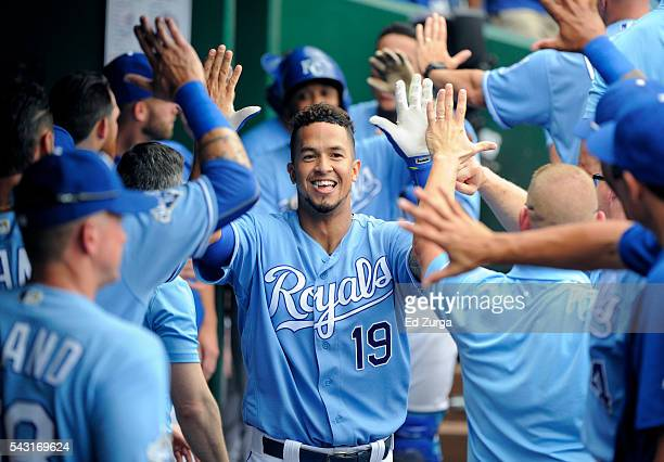 Cheslor Cuthbert of the Kansas City Royals celebrates his tworun home run with teammates in the seventh inning against the Houston Astros at Kauffman...