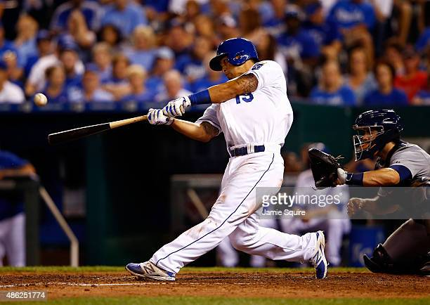 Cheslor Cuthbert of the Kansas City Royals connects for a home run during the 5th inning of the game against the Detroit Tigers at Kauffman Stadium...