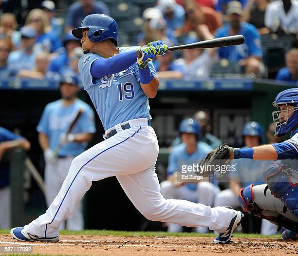 Cheslor Cuthbert of the Kansas City Royals doubles in the in the first inning against the Toronto Blue Jays at Kauffman Stadium on August 7 2016 in...