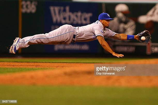 Cheslor Cuthbert of the Kansas City Royals fields a ground ball against the St Louis Cardinals in the fifth inning at Busch Stadium on June 29 2016...