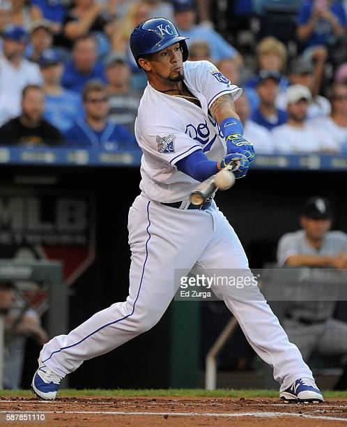 Cheslor Cuthbert of the Kansas City Royals hits a RBI single in the first inning against the Chicago White Sox at Kauffman Stadium on August 9 2016...