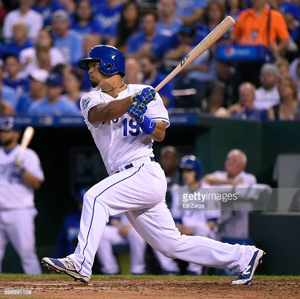 Cheslor Cuthbert of the Kansas City Royals hits a RBI single in the fifth inning against the Detroit Tigers at Kauffman Stadium on September 3 2016...