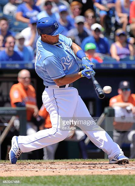 Cheslor Cuthbert of the Kansas City Royals hits a tworun double in the first inning against the Houston Astros at Kauffman Stadium on July 26 2015 in...