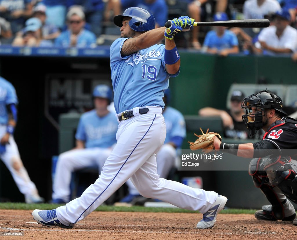 Cheslor Cuthbert #19 of the Kansas City Royals hits a two-run single in the fifth inning against the Cleveland Indians at Kauffman Stadium on August 20, 2017 in Kansas City, Missouri.