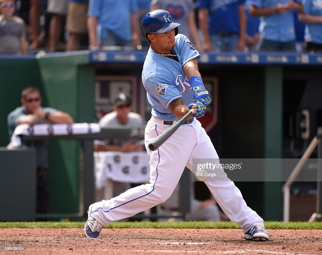 <a gi-track='captionPersonalityLinkClicked' href=/galleries/search?phrase=Cheslor+Cuthbert&family=editorial&specificpeople=9989117 ng-click='$event.stopPropagation()'>Cheslor Cuthbert</a> #19 of the Kansas City Royals hits an RBI single in the eighth inning against the Chicago White Sox at Kauffman Stadium on May 29, 2016 in Kansas City, Missouri.