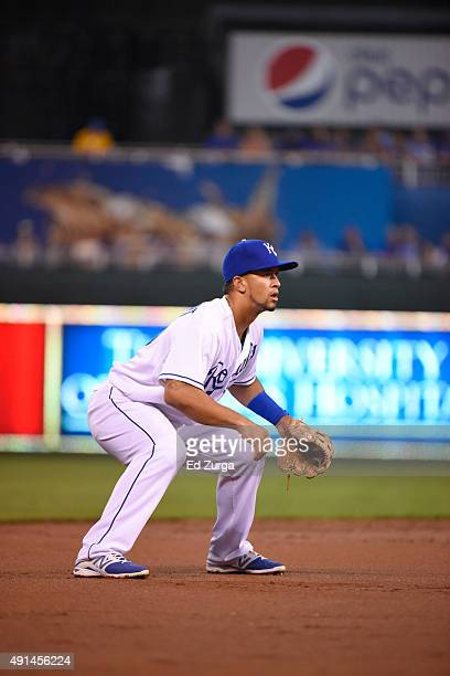 Cheslor Cuthbert of the Kansas City Royals in action at his position against the Cleveland Indians at Kauffman Stadium on September 25 2015 in Kansas...