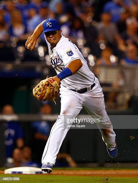 Cheslor Cuthbert of the Kansas City Royals in action during the game against the Detroit Tigers at Kauffman Stadium on September 2 2015 in Kansas...