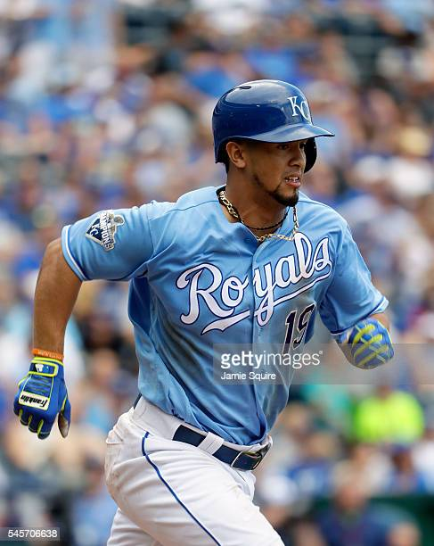 Cheslor Cuthbert of the Kansas City Royals in action during the game against the Seattle Mariners at Kauffman Stadium on July 9 2016 in Kansas City...