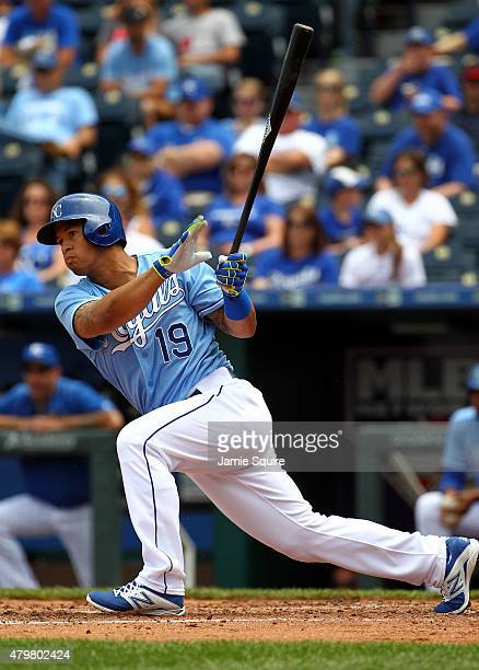 Cheslor Cuthbert of the Kansas City Royals records his first Major League hit during the 3rd inning of game 1 of a doubleheader against the Tampa Bay...