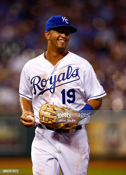 Cheslor Cuthbert of the Kansas City Royals smiles as the Royals defeat the Detroit Tigers 121 to win the game against the Detroit Tigers at Kauffman...