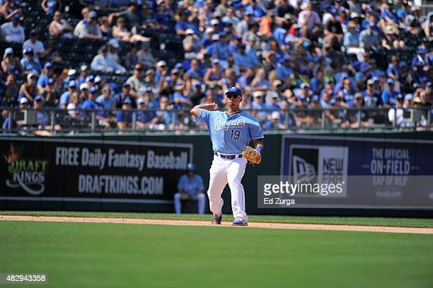 Cheslor Cuthbert of the Kansas City Royals throws to first for the out against the Houston Astros at Kauffman Stadium on July 26 2015 in Kansas City...
