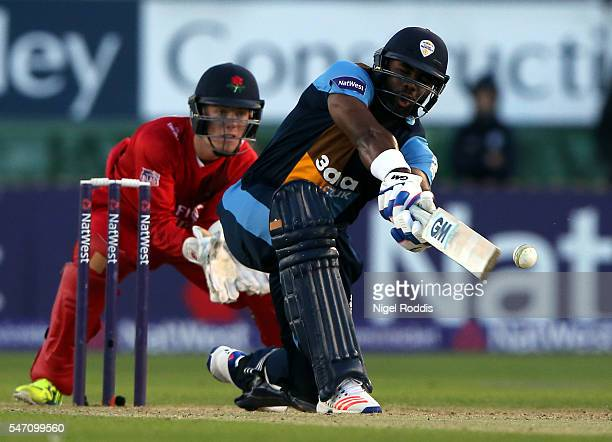 Chesney Hughes of Derbyshire Falcons plays a shot during the NatWest T20 Blast between Derbyshire Falcons and Lancashire Lightning at The 3aaa County...
