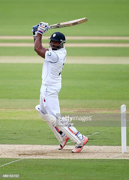 Chesney Hughes of Derbyshire in action during the LV County Championship Division Two match between Surrey and Derbyshire at The Kia Oval on...