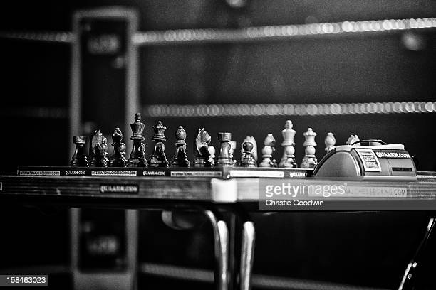 Chess board in the ring during the Chessboxing 2012 Season Finale at Scala on December 8 2012 in London England