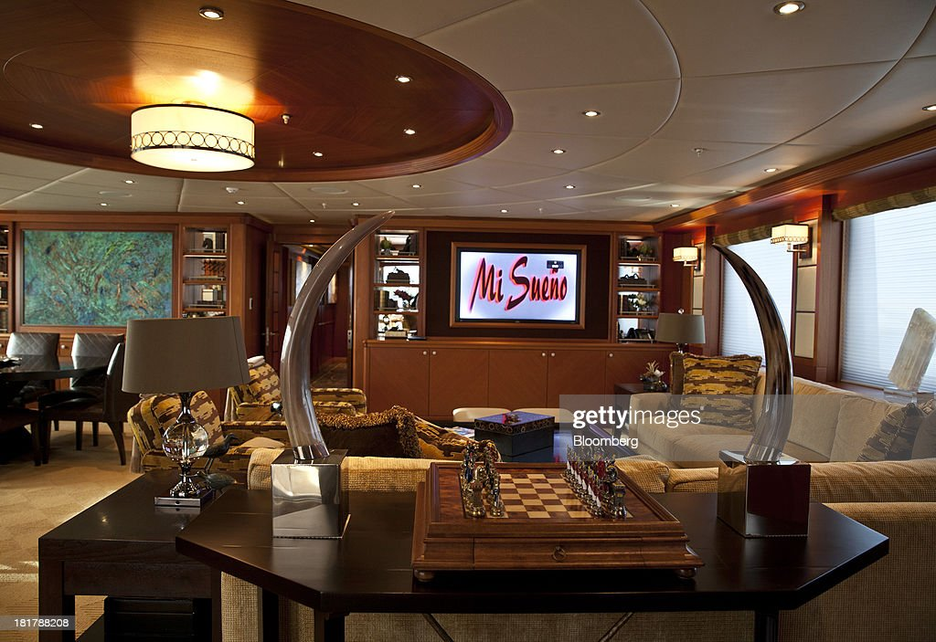 A chess board sits on a table as a 42 inch flat-screen television sits on a wall inside the 190ft (57.9m) motor yacht Mi Sueno, manufactured by Trinity Yachts LLC, as it sits moored in the harbor in Nice, France, on Wednesday, Sept. 25, 2013. Over 100 of the world's luxury yachts will be displayed in Port Hercules during the 23rd Monaco Yacht Show which runs from Sept. 25 - 28. Photographer: Balint Porneczi/Bloomberg via Getty Images