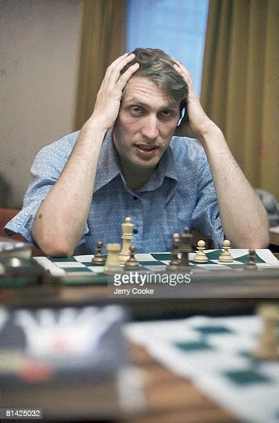 Chess Closeup portrait of Bobby Fischer before match vs Boris Spassky Reykjavik ISL 6/30/1972