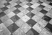 Chess Floor. Black and White Squares. Black and White Background.