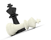 chess game king black white victory defeat 3D