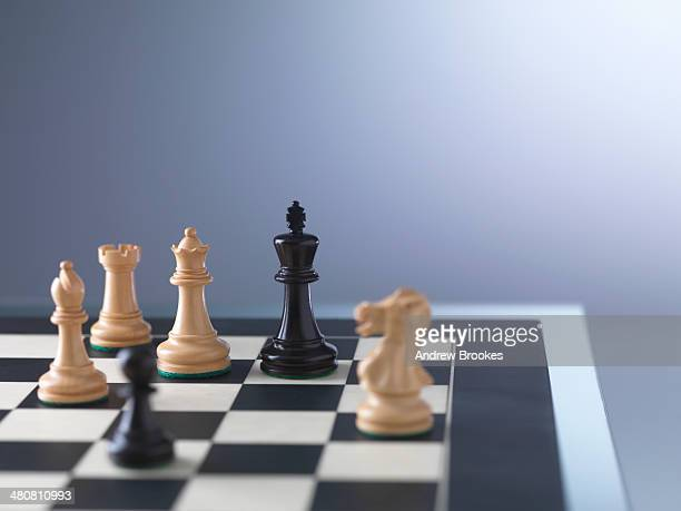 Chess game, player preparing to check mate