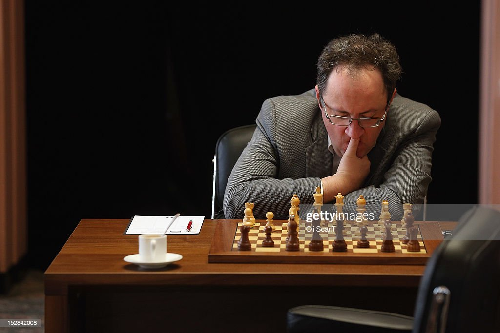 Chess Grandmaster <a gi-track='captionPersonalityLinkClicked' href=/galleries/search?phrase=Boris+Gelfand&family=editorial&specificpeople=790712 ng-click='$event.stopPropagation()'>Boris Gelfand</a> plays in round 6 of the World Chess London Grand Prix at Simpson's-in-the-Strand on September 27, 2012 in London, England. The event, which begins the 2012/13 World Chess Championship Cycle, runs until October 3, 2012 and takes place over 11 rounds. The London Grand Prix is the first tournament in an ambitious, high-profile rebranding of world chess by American-born entrepreneur Andrew Paulson whose intention is to regain the global popularity chess enjoyed in the 1970s with matches between American Bobby Fischer and the Soviet Union's Boris Spassky.