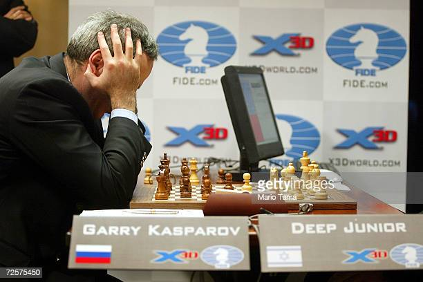 Chess grandmaster Garry Kasparov ponders a move during the final match against chess supercomputer Deep Junior in the the Man vs Machine chess...