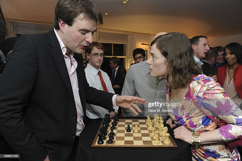 Chess grandmaster Gawain Jones and Camilla Rutherford attend the launch of the 'Urban Chess' Funding Initiative from East Village at Mortons on March 13, 2013 in London England.