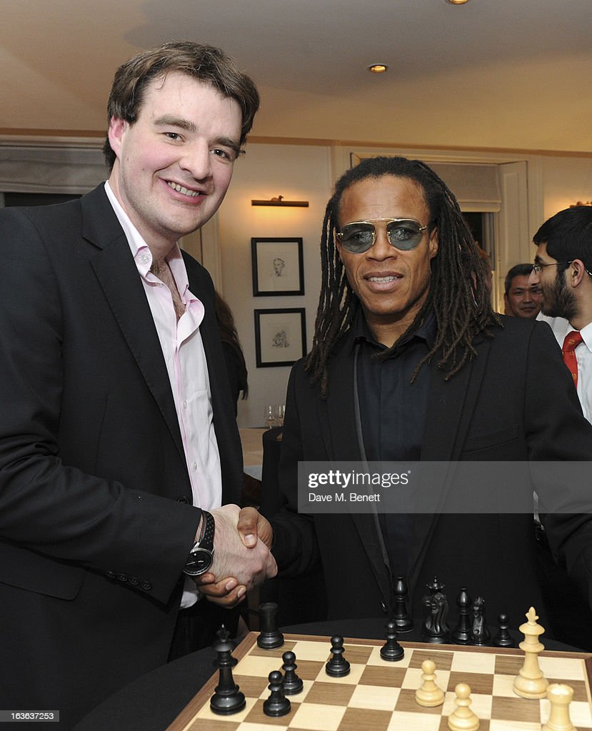 Chess grandmaster Gawain Jones and <a gi-track='captionPersonalityLinkClicked' href=/galleries/search?phrase=Edgar+Davids&family=editorial&specificpeople=213130 ng-click='$event.stopPropagation()'>Edgar Davids</a> attend the launch of the 'Urban Chess' Funding Initiative from East Village at Mortons on March 13, 2013 in London England.