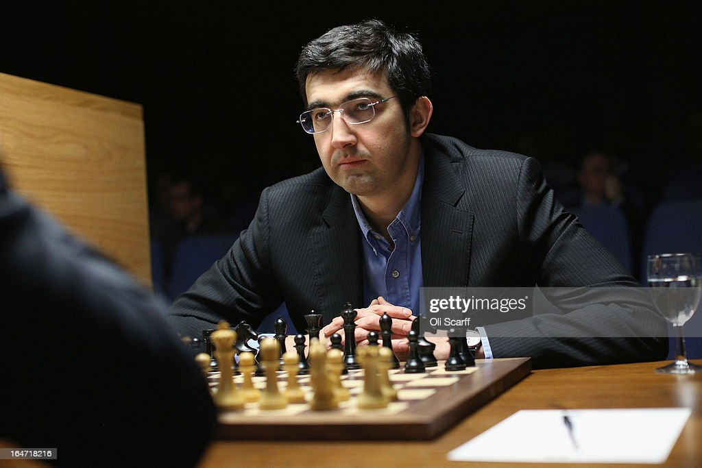 Chess grandmaster Vladimir Kramnik competes in the Candidates Tournament at the IET on Savoy Place on March 27, 2013 in London, England. The Candidates Tournament features eight of the world's top chess players to determine which player will challenge Viswanathan Anand for the title of World Champion in November 2013. The tournament will be the strongest of its kind in history with a total prize fund of 510,000 Euros.
