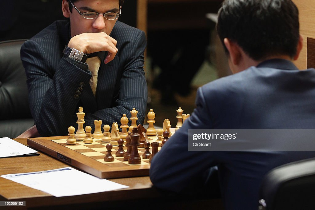 Chess Grandmasters Anish Giri (L) plays Wang Hao in the World Chess London Grand Prix at Simpson's-in-the-Strand on September 22, 2012 in London, England. The event, which begins the 2012/13 World Chess Championship Cycle, runs until October 3, 2012 and takes place over 11 rounds. The London Grand Prix is the first tournament in an ambitious, high-profile rebranding of world chess by American-born entrepreneur Andrew Paulson whose intention is to regain the global popularity chess enjoyed in the 1970s with matches between American Bobby Fischer and the Soviet Union's Boris Spassky.