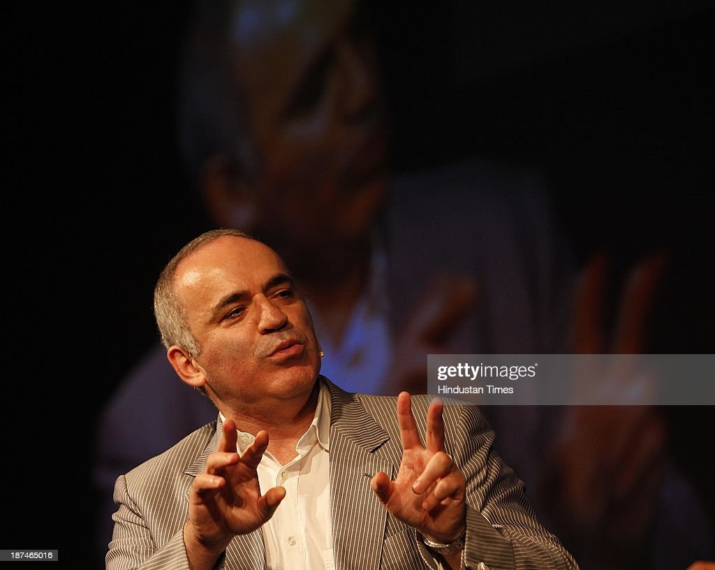Chess legend Garry Kasparov talks on 'How Life Imitates Chess: The Grandmaster's Battle For Russia' during the second day of THiNK 2013 at Bambolim on November 9, 2013 in Goa, India. THiNK is designed to be a unique platform for ideas, debates and conversations that are eclectic and engaging. And more often than not, the ideas and thoughts that come through from THiNK transcend immediate context, and hold relevance to our times, our society as well.