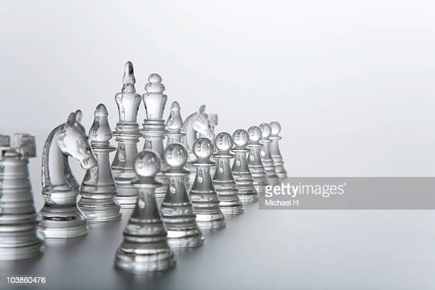 Chess of clear material that lines up and is put