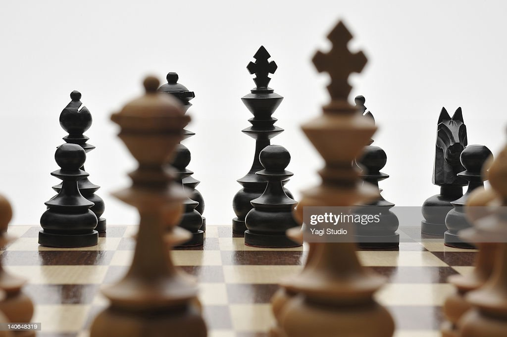 Chess pieces are lined up : Stock Photo