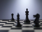 Chess pieces on a board showing king