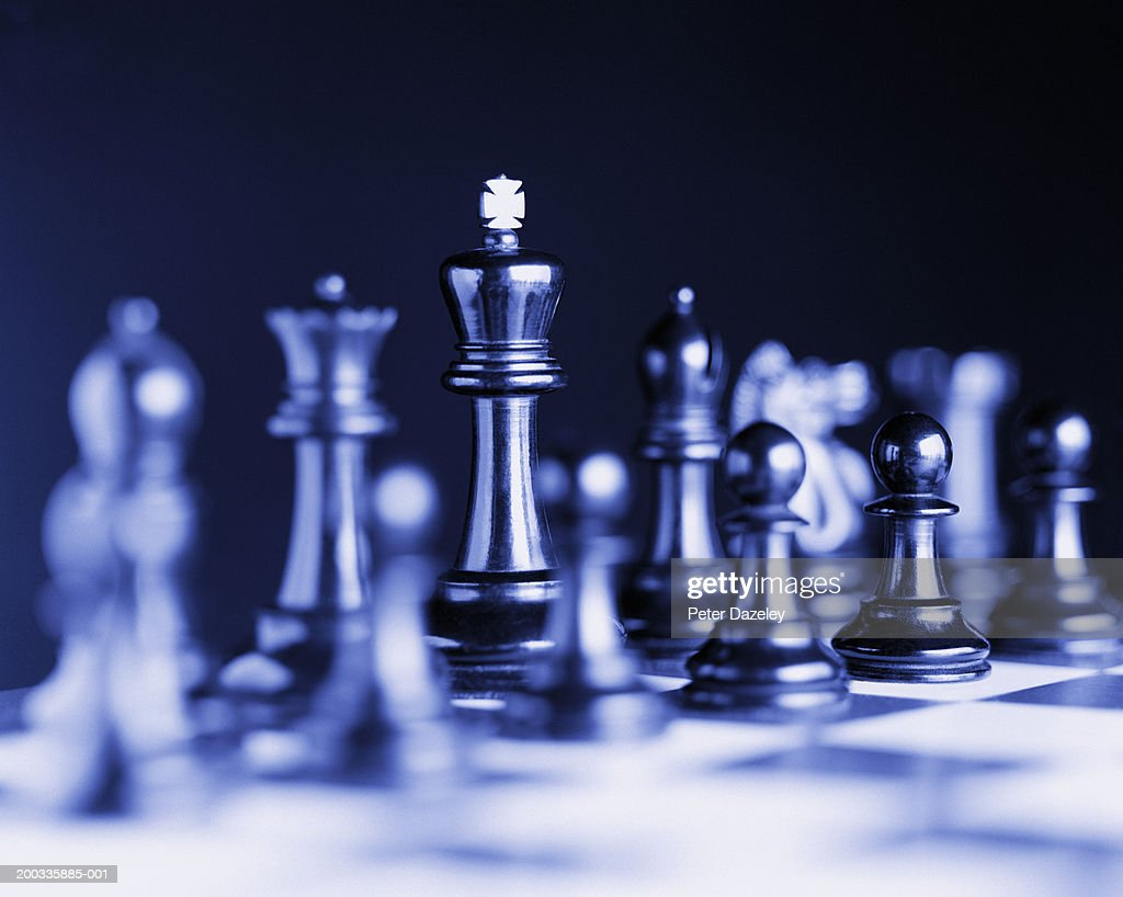 Chess pieces on board (digital enhancement) : Stock Photo
