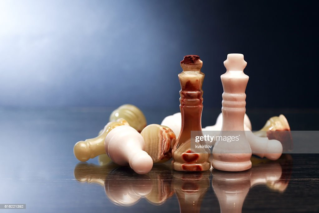 Chess Pieces On Dark : Stock-Foto