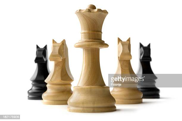Chess: Queen and Knights Isolated on White Background