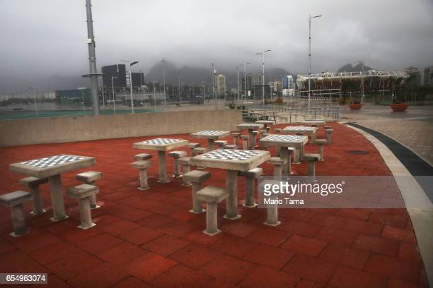 Chess tables stand in Olympic Park on March 18 2017 in Rio de Janeiro Brazil Seven months after the Rio hosted the first Olympic games in South...