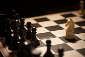 Shot of a chess board white horse moving.