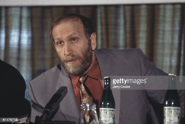 Chess World Championship Closeup of Bobby Fischer during media press conference Sveti Stefan SCG 9/2/1992