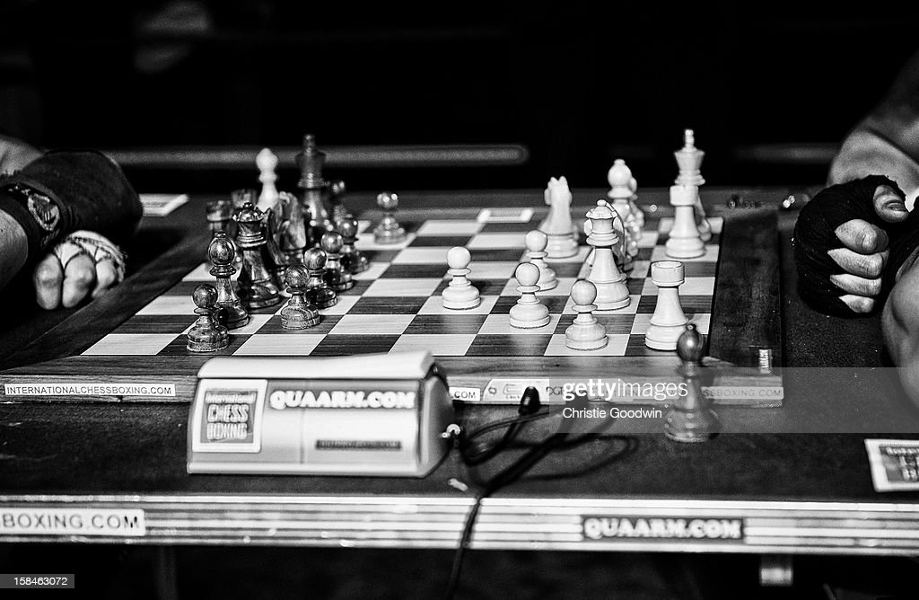 Chessboard in the ring during the Chessboxing 2012 Season Finale at Scala on December 8, 2012 in London, England.