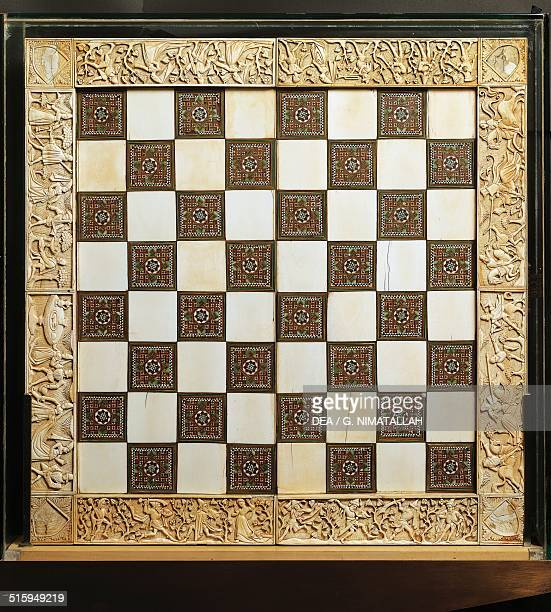 Chessboard made of ivory and inlaid wood France 15th century Florence Museo Nazionale Del Bargello