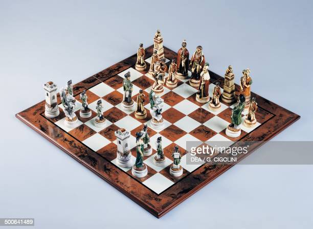 Chessboard with chess pieces chess 20th century