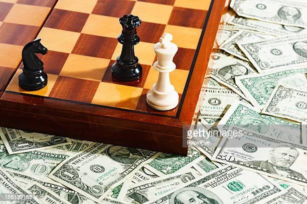 チェスボード、アイテムのチェックメート位置に多くの米ドル