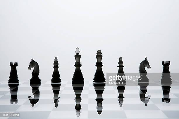 A chessman of black that lines up